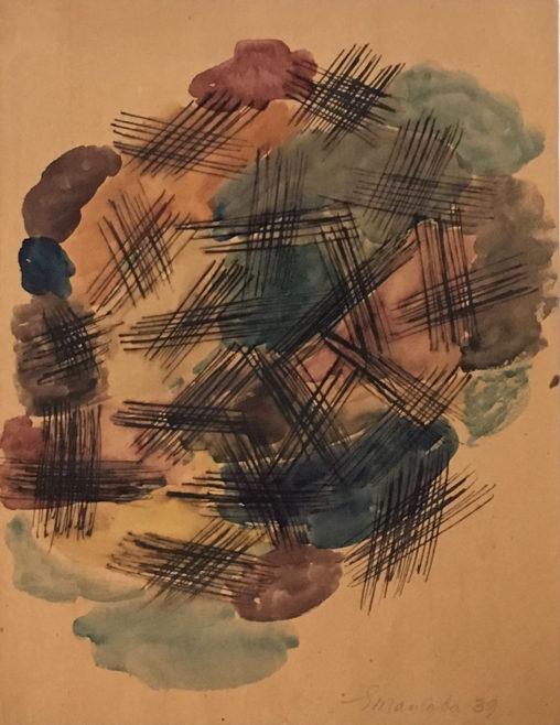 Ernest Mancoba, ink & watercolour on paper, Jorn Museum
