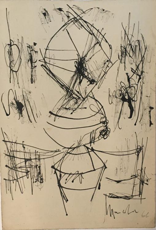 Ernest Mancoba, ink on paper, Jorn Museum