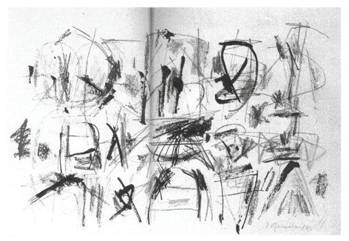 Ernest Mancoba, ink + pencil + crayon on paper, Aarhus Museum
