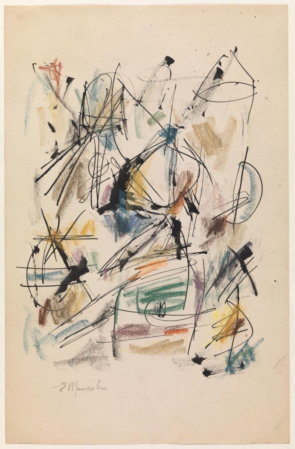 Ernest Mancoba, ink + pastel on paper, Tate Modern
