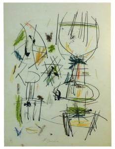 Ernest Mancoba, ink + pastel on paper