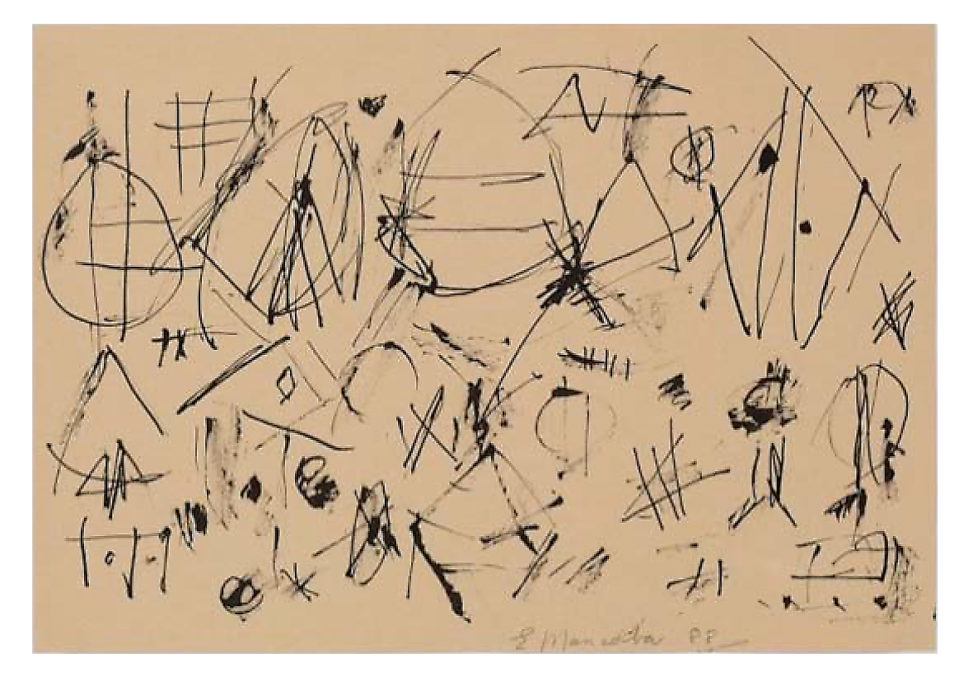 Ernest Mancoba, ink on paper, Mikael Anderson Gallery