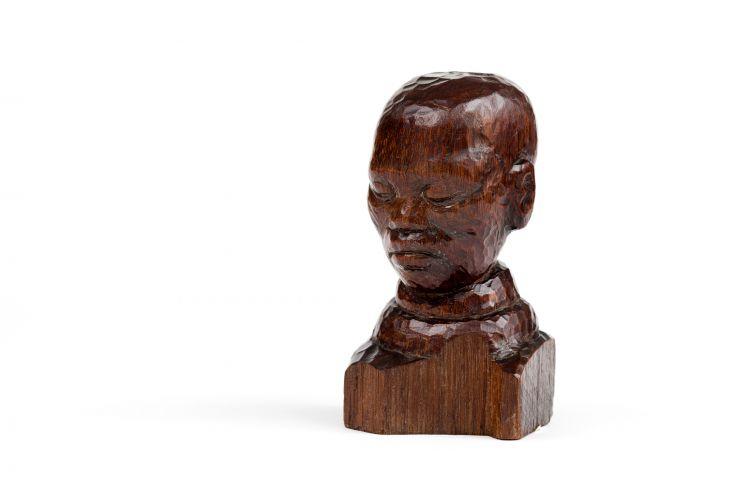 Ernest Mancoba, Head of a Mapedi, 1936, wood carving