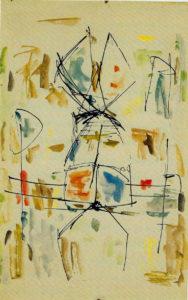 Ernest Mancoba, ink + oil pastel