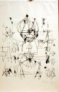 Ernest Mancoba, 1973, ink on paper, Brandts Museum