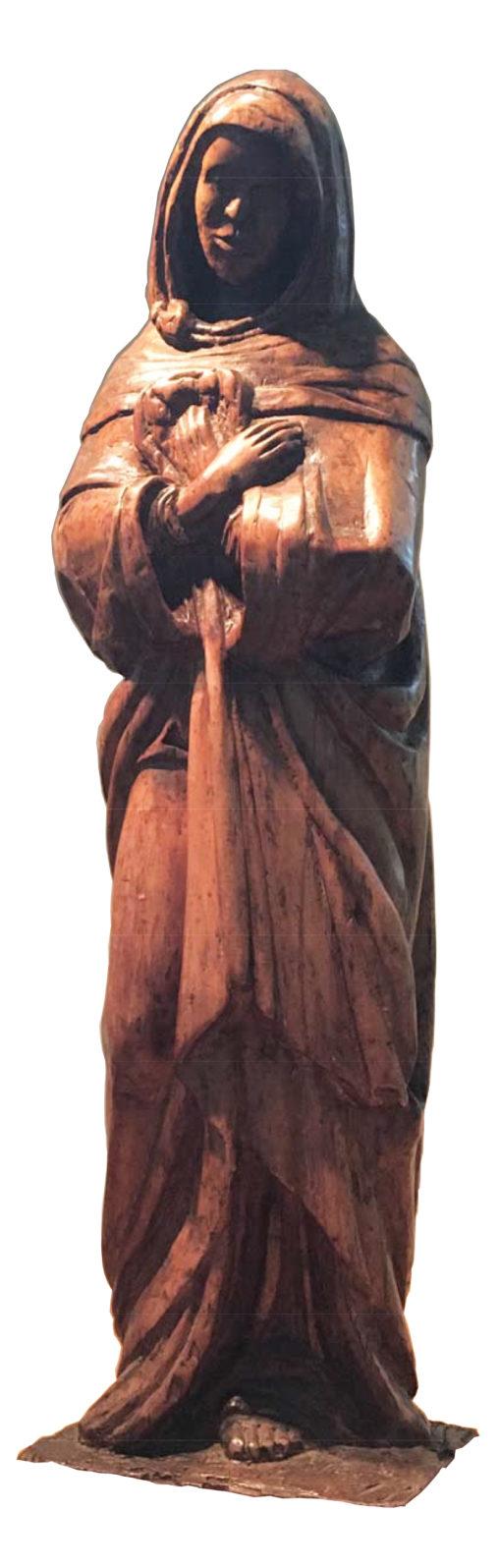 "Ernest Mancoba, ""Black Madonna"", 1929, yellow wood sculpture, 86 x 22 x 17 cm"