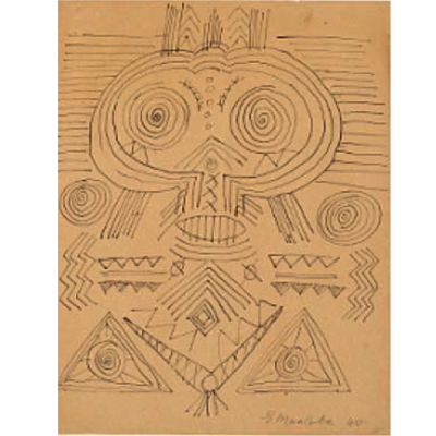 Ernest Mancoba, ink on paper, private collection