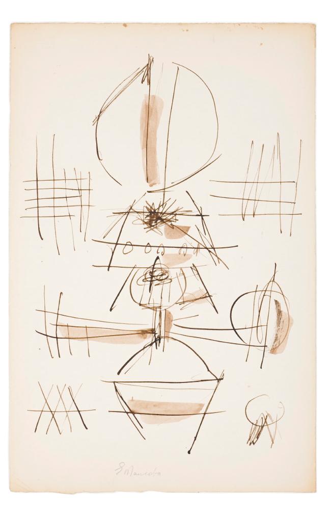 Ernest Mancoba, ink on paper, Johannesburg Art Gallery