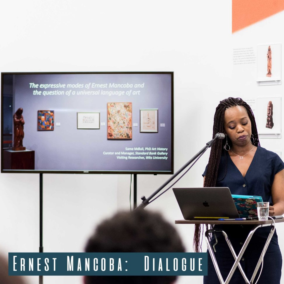 Director and Curator of Standard Bank Art Gallery Same Mdluli giving her talk