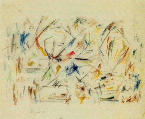 Ernest Mancoba, oil pastel on paper