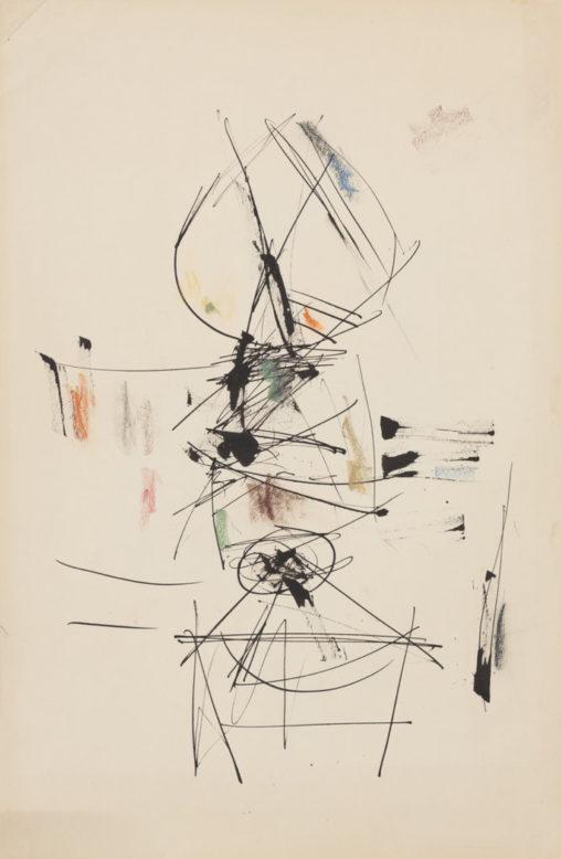 Ernest Mancoba, ink + oil pastel on paper