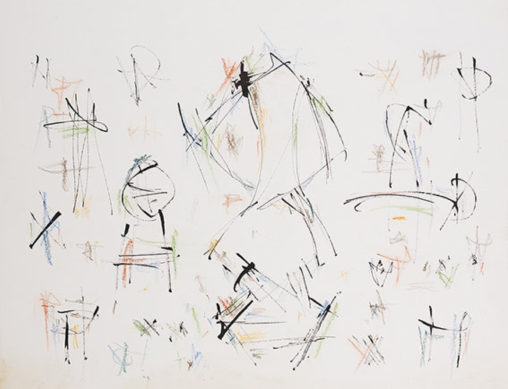 Ernest Mancoba, ink + pastel on paper, Mikael Anderson Gallery